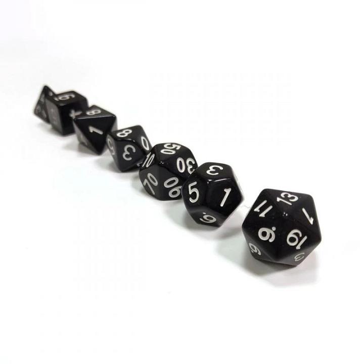 Набор из 7 кубиков для ролевых игр (чёрный)