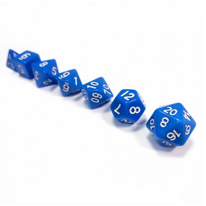 Набор из 7 кубиков для ролевых игр (синий)