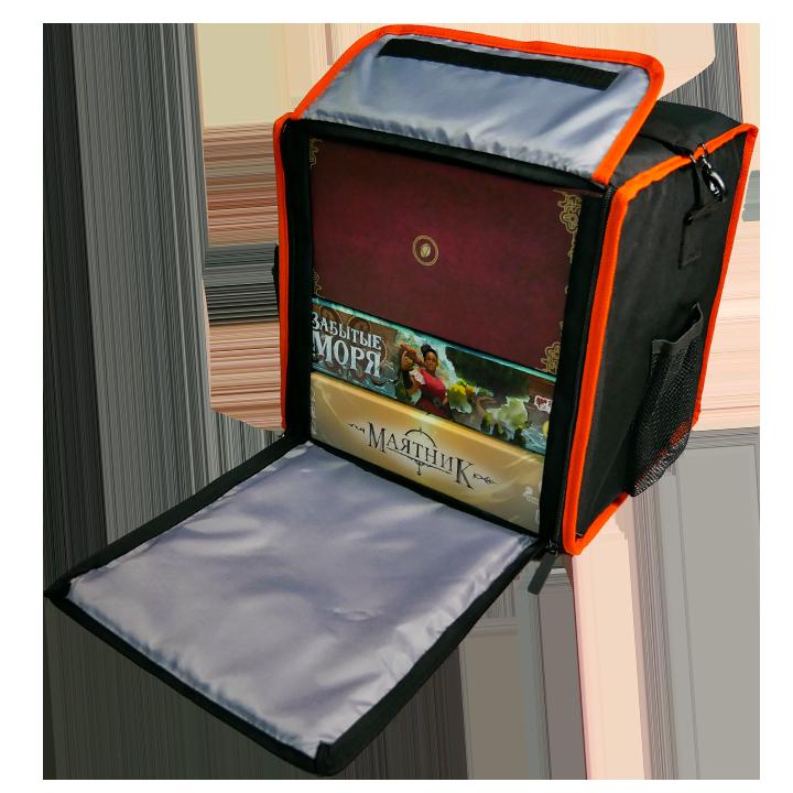 Сумка для настольных игр (чёрная с оранжевым кантом)