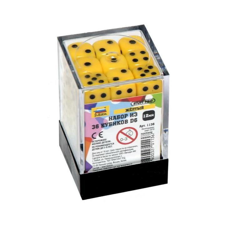Набор из 36 кубиков D6 (жёлтый)