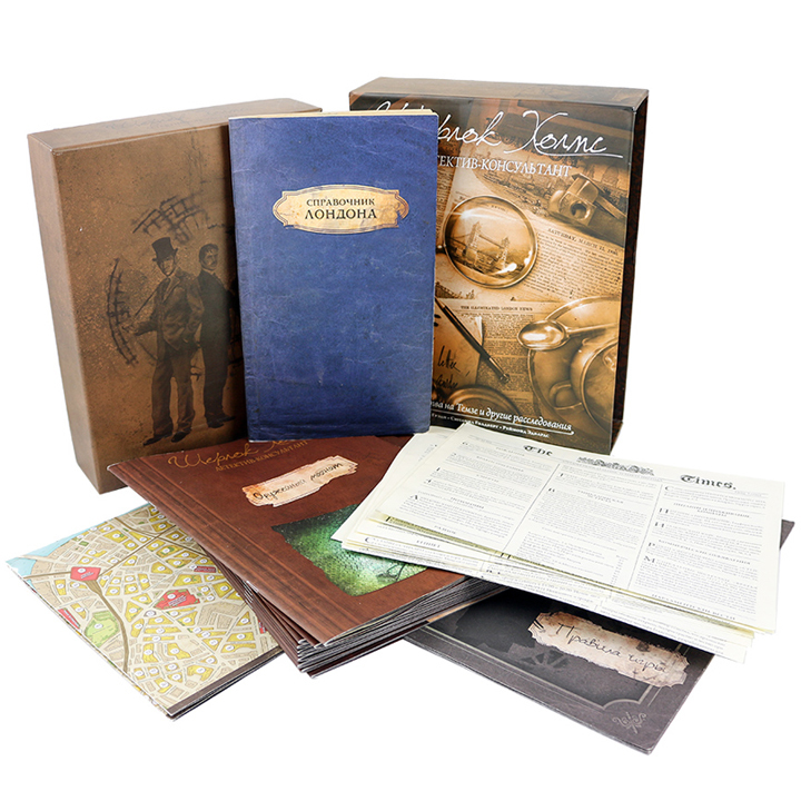 Шерлок Холмс, детектив-консультант (Sherlock Holmes Consulting Detective: The Thames Murders & Other Cases). Настольная игра Crowd Games. Фото компонентов
