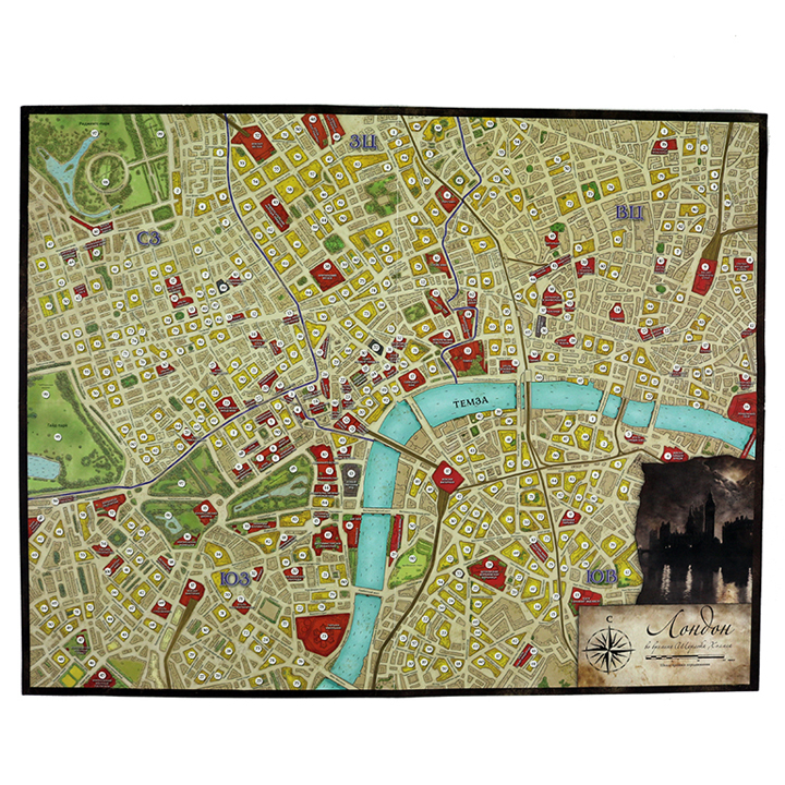 Шерлок Холмс, детектив-консультант (Sherlock Holmes Consulting Detective: The Thames Murders & Other Cases). Настольная игра Crowd Games. Фото игрового поля