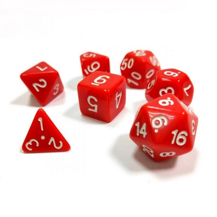 Набор из 7 кубиков для ролевых игр (красный)
