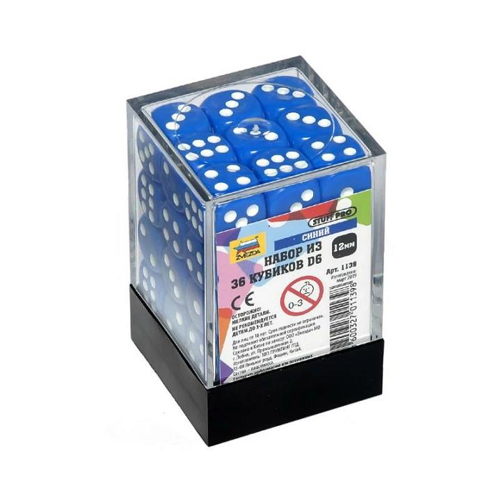 Набор из 36 кубиков D6 (синий)