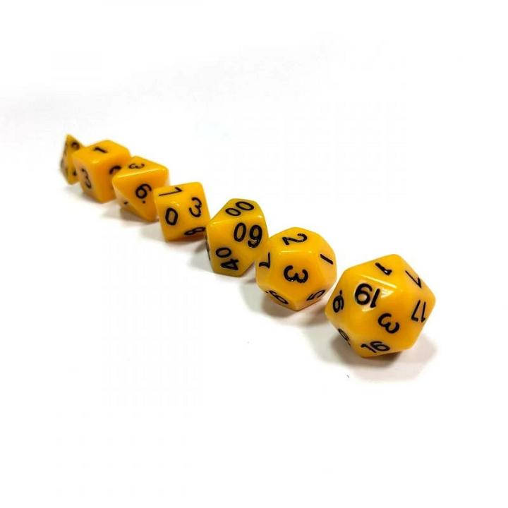 Набор из 7 кубиков для ролевых игр (жёлтый)