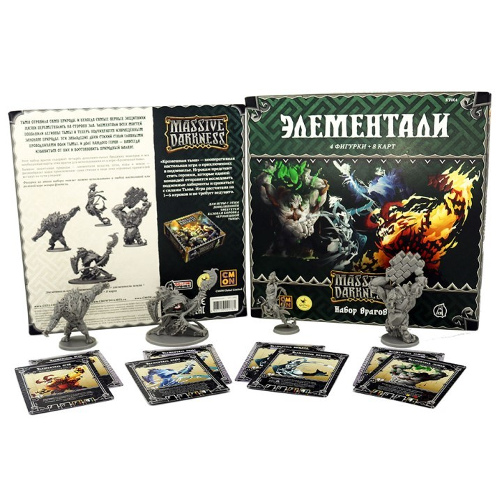Кромешная тьма. Элементали (Massive Darkness: Enemy Box – Elementals). Настольная игра Crowd Games. Фото компонентов
