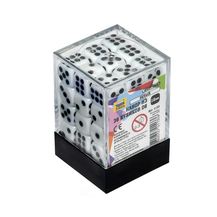 Набор из 36 белых кубиков D6