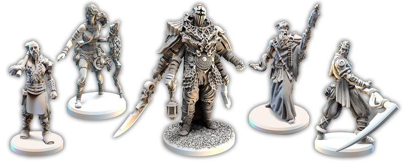 Осквернённый Грааль (Tainted Grail). Миниатюры героев.
