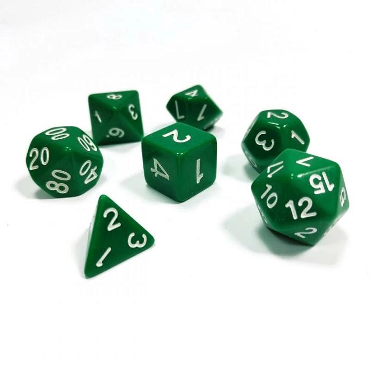 Набор из 7 кубиков для ролевых игр (зелёный)